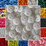 120 kleine bunte Knöpfe - 9mm - In vielen Farben erhältlich - Kinderknöpfe - Puppenknöpfe - Scrapbooking (Weiß)