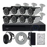 8CH 1080P PoE-Überwachungskamera -System mit 8-Kanal 2,0 Megapixeln 40 Meter Nachtsichtkamera mit Fernbedienung Bewegungserkennung und E-Mail-Alarm, 1 PC 3 TB Festplatte vorinstalliert