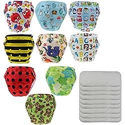 Happy Cherry Pack de 9 Pañales de Tela Reutilizables Lavables + 9 Absorbentes