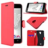 ebestStar - Coque Wiko Freddy Etui PU Cuir Housse Portefeuille Porte-Cartes Support Stand, Rouge [Appareil: 143 x 71.8 x 10.6mm, 5.0'']