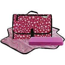 Toweter - Cambiador plegable impermeable para bebé con bolsa para pañales y funda para toallitas