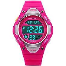 Hiwatch Reloj para Niñas Deportivos Impermeable 164 pies LED Digital a Prueba de Agua Relojes para Chicas Rosado