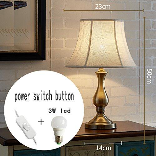 Jjjjd lampada da tavolo led soggiorno camera da letto moderna lampada da comodino in bronzo antico interruttore pulsante creativo