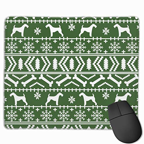 Airedale Terrier Dog Fair Isle Christmas Sweater Pattern Print Med Green_27883 Mouse pad Custom Gaming Mousepad Nonslip Rubber Backing 9.8