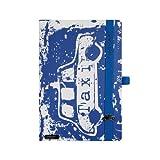 Urban Hero Lanybook Notizbuch, A5, liniert, inklusive Froschtasche, Hardcover, 192 Seiten, weiß/blau