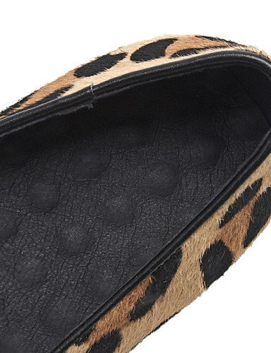 ShangYi gyht Scarpe Donna - Mocassini - Ufficio e lavoro / Casual - Punta arrotondata - Piatto - Crine di cavallo - Nero / Blu / Leopardo leopard