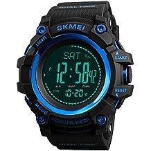 FeiWen Multifuncional Brújula Relojes de Pulsera de Hombre Deportivo Digitales Outdoor Militar Tácticas Plástico Bisel con
