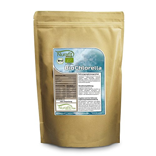 Chlorella Reines Pulver (Nurafit BIO Chlorella Pulver I Algen aus kontrolliert biologischem Anbau I BIO-zertifiziert I ideal für Green Smoothies I Vegan Alge Superfood I 500g / 0.5kg)
