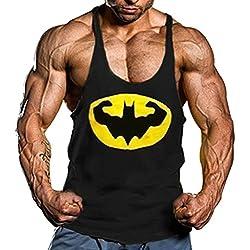Camiseta Camisa Tirantes Culturismo Para Hombre. Tank Top y t-Shirt Para Gimnasio y Entrenar. (Batman Musculación) L