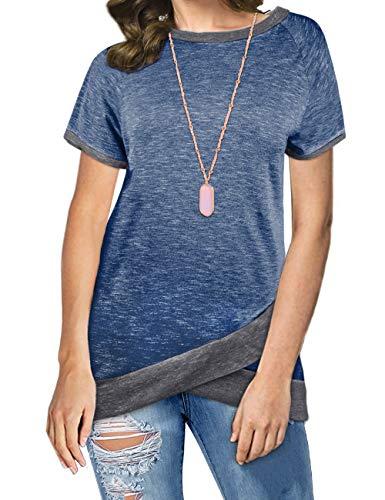 Odosalii Damen Langarm Patchwork Sweatshirt Pullover Casual T-Shirt Asymmetrisch Saum Tunika Tops,B_königsblau,S -