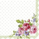 20 Servietten Rosen-Abbildung auf grün/weiß / Blumen / Blumenmotiv 33x33cm