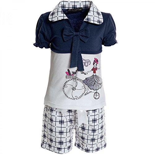 Kinder Mädchen Freizeit Kurzarm Shirt Jogging Hose Outfit (2 TLG Set) 20468 Blau Größe 92