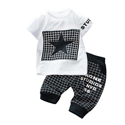 Outfits 2 Stücke Kinder, Sunday Infant Kid Jungen Mädchen Brief Star Print Plaid Tops + Hosen Outfits Kleidung Set Sommer Kurzarm T-shirt Kurze Kinder Hosen (Dunkelblau, Alter: 12M) (Kleidung Infant Kleidung)