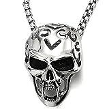 Gótico Punk Grande Colmillos Vampiro Colgante del Cráneo, Collar Hombre, Acero, 75CM Cadena de Trigo, Diablo,Demonio
