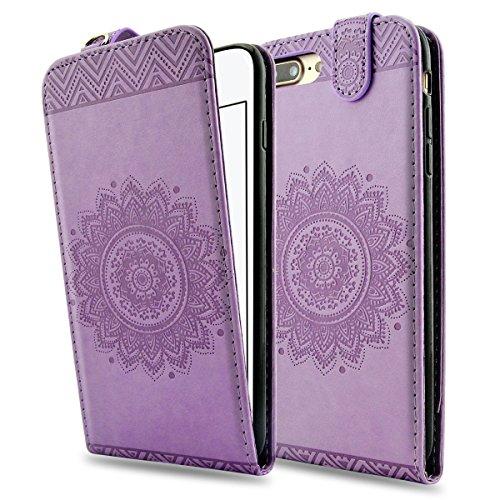 iPhone 8 Plus Lederhülle, iPhone 7 Plus Ledertasche - Fraelc UltraSlim 360 Grad Klapphülle Flip Case mit Karte Halter und Standfunktion Leder Schale für Apple iPhone 7 Plus / iPhone 8 Plus (5,5 Zoll)  Lilac