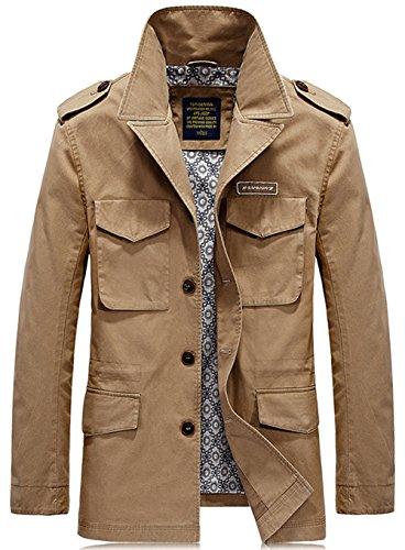 YYZYY Homme Cotton Militaire Multi-poches Veste Blousons Long Manteau Kaki