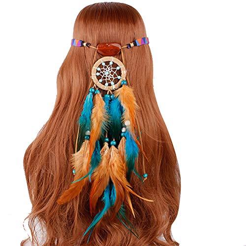 �nger Federhaarband Kopfschmuck Damen Quasten Feder Stirnbänder Boho Haarband Haarschmuck Feder Kopfkette Kopfbedeckung Boho Indisch Haarbänder für Abendkleider Halloween Karneval ()