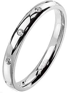 Paula & Fritz® - Anello da donna lucido con zirconi, larghezza 3 mm, in acciaio inox 316L 47(15) - 61(19,5)
