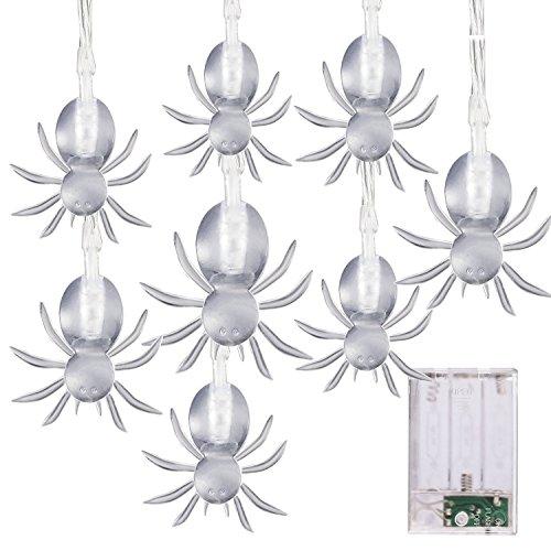 Halloween Lichterkette LED Schnurlicht 20 LEDs Geist Licht für Außen Weihnachten Halloween Party Park Fest Deko,Weiß (Colored Spider) (Diy Spinnen Halloween)