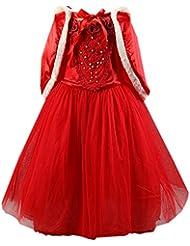 Moin 2015 Hot sale Vestido para Niñas Fiesta Rojo Dulce de Princesa hermosa