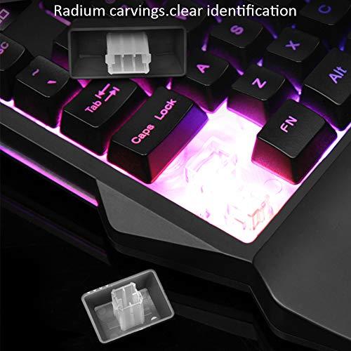 Pueri Clavier mécanique clavier de jeu à une main mini-clavier de jeu repose-mains à 35 touches Clavier de jeu RVB Contre-jour coloré 10