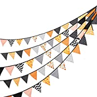 Thanks Giving Decorations Kit Fabric Banner 24 Pcs/23 Feet Colored Pennant Flag,Vintage Triangle Bunting,Hanging Cotton Garland for Baby Birthday Shower,Wedding Theme Party,Window Decorations-2 SET