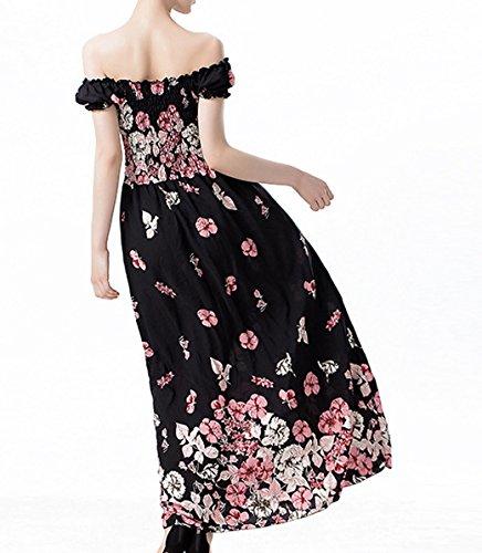 Damen Elegant faltenkleid Reizvolle Ein Wort Kragen Bandeaukleider Rückenfrei Festkleid Armellose abiballkleid High Waisted tunikakleid Blumendruck Maxikleider Partykleider Pink