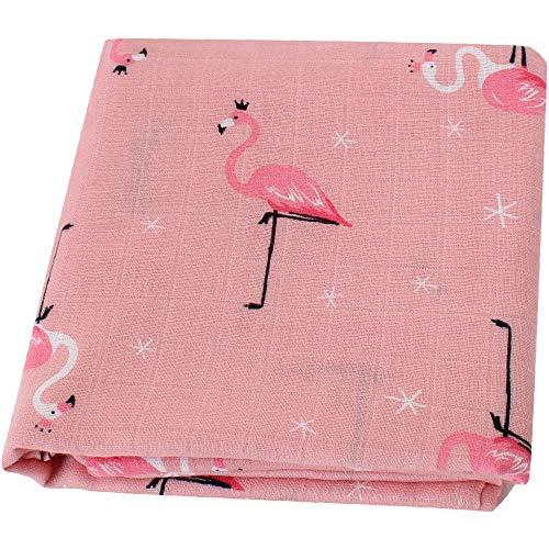 LifeTree Musselin Swaddle Pucktücher aus Puckdecken | XL Größe 120x120 cm Babydecken Bambus Baumwolle | Mullwindeln für Mädchen -