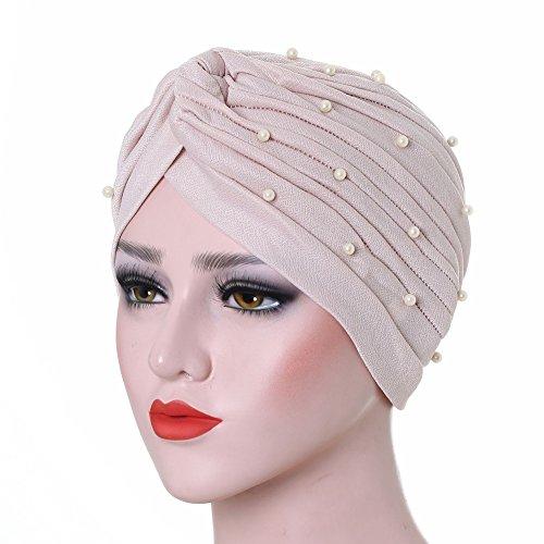 (Amorar Muslim Chemo Turban mit Sicke Falten Dekoration, Pre-Tied Bandana Cap Kopftuch Baumwolle Turbante Schlafmütze Kopf Wrap Multifunktions Headwear für Krebs)