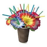 Gazechimp 20 Stück Bunte Trinkhalme mit Blume Dekoration für Hawaii Tropische Strand Party