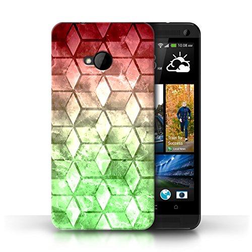 Etui / Coque pour HTC One/1 M7 / Bleu/verd conception / Collection de Cubes colorés Rouge / Vert