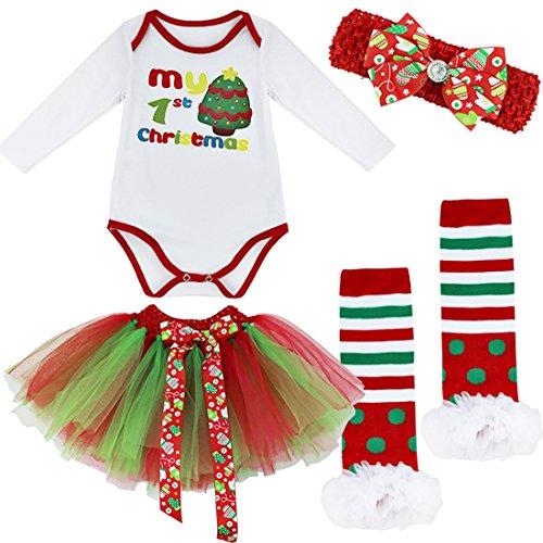 iEFiEL Conjunto Infantil de Carnaval Navidad Reyes Fiesta Body Pelele + Falda Estilo de Vestido Algodón para Bebé Niña Recién Nacido Árbol de Navidad 2 3-6 Meses