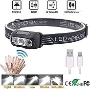 LED Sensor Headlamp, Headlamp Flashlight Rechargeable Headlamp 500 Lumens XPG2 Headlight for Running Biking Fi