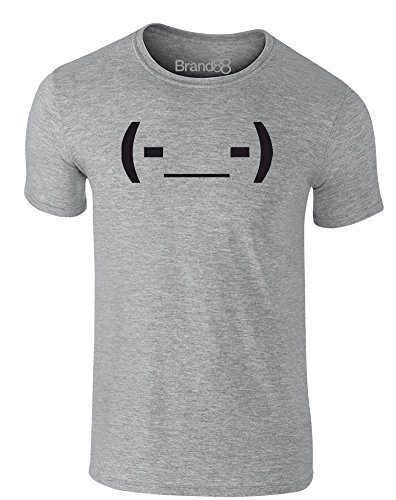 Brand88 - Tired Emoticon, Erwachsene Gedrucktes T-Shirt Grau/Schwarz