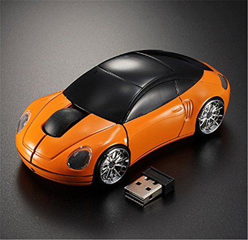 Interesting® Orange 3D drahtlose optische 2.4G stilvolle Auto geformte Maus Mäuse für PC Laptop -