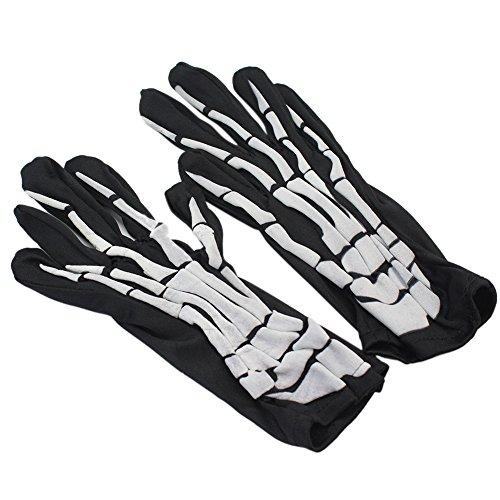 n Skelett Knochen Schädel Handschuhe Kostüm Ball Party Halloween Zubehör (Skelett Handschuhe Knochen)