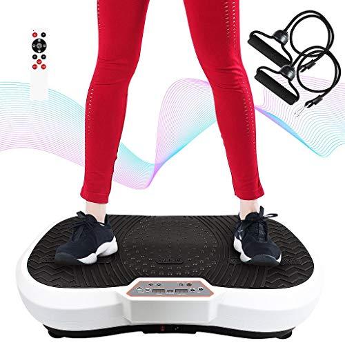 Todeco - Vibration Plate, Fitness Vibrating Machine - Größe: 69 x 39 x 13 cm - Material: Kunststoff - Weiß, 180 Stufen, Remote Control, Resistance Bands & Yoga Mat