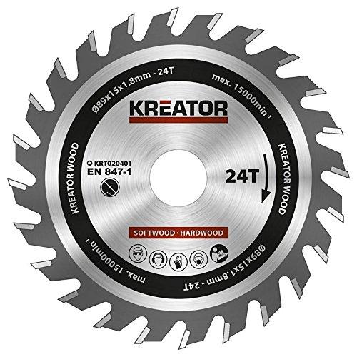 KRT020401 Hartmetall Kreissägeblatt für Holz Ø89mm Bohrung 15mm Dicke 1,8mm Zähne 24