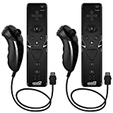 EEEKit Ensemble de 2 télécommandes pour télécommande et Nunchuk avec sangle pour Nintendo Wii / Wii U / Wii mini (Noir)