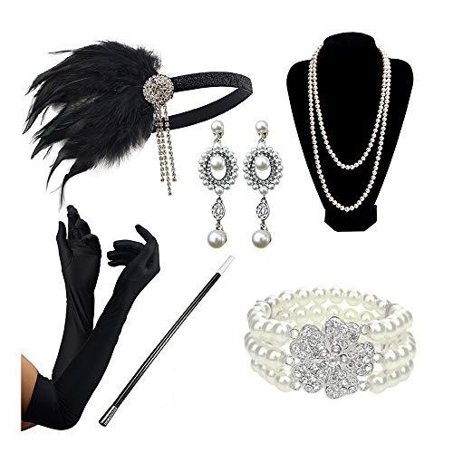 (DRESHOW 20er Jahre Zubehör Sets Flapper Kostüm Gatsby Feder Stirnband Lange Halskette Schwarze Handschuhe Zigarettenspitze)