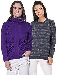 Purys Solid Jacket and Striped Sweatshirt