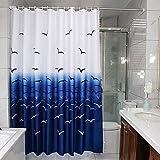 ZBB Duschvorhänge Blau für die Bad WC [Wasserdicht] verdichten die Hinweise auf die Form der Duschvorhang Duschvorhang Partition Gardinen - F 150 X 200 cm (59 X 79 cm)