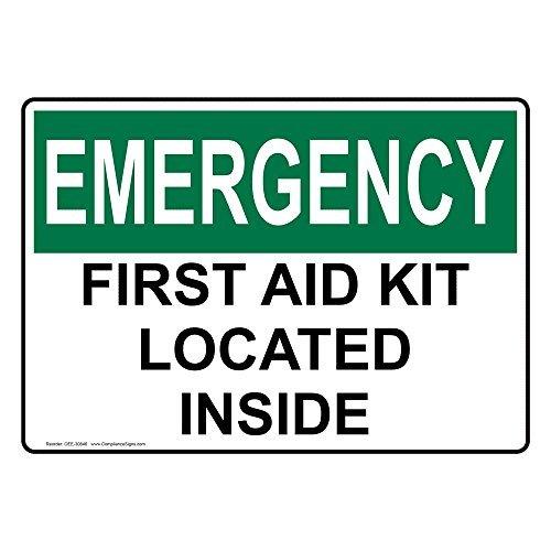 PeteGray OSHA Notfall Erste Hilfe Kit befindet Sich im Aluminium Metall Schild Achtung Schilder Metall blechschild Teller Wandschild, 20,3x 30,5cm, mit englischem Text, Weiß (Erste Wetter-kit)