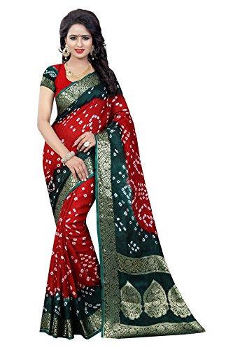 Bandhani Saree(Concepta Women's Multicolor Art Silk Bandhani Saree)