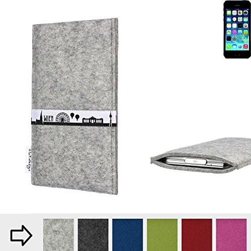 flat.design Filztasche SKYLINE mit Webband Wien für Apple iPhone 5s - Maßanfertigung der Filz schutzhülle aus 100% Wollfilz (hellgrau) - Case Hülle im Slim fit Design für Apple iPhone 5s hellgrau