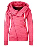 Minetom Femmes Automne Hiver Printemps Capuche Veste Mode Casual Outerwear Oblique Zipper Manteau Pink 42