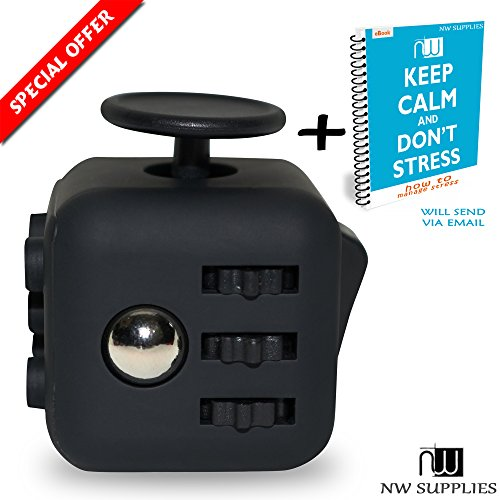 Preisvergleich Produktbild Fidget Cube - gadget / toy against stress, restless hands, perfect for nervous fingers for distraction, known from kickstarter - comparable to the original (Black)