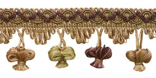 5Yard Value Pack Dusty Rose, Olive Grün, Aubergine 5,1cm Imperial II Zwiebel Quaste Fransen Stil # nt2503Farbe: Olive Rose-1010(15ft) -