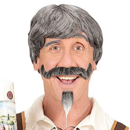 NET TOYS Opa Perücke mit Schnauzer & Kinnbart - Grau - Originelle Männer-Verkleidung Alter Mann Herren-Perücke mit Bart - EIN Highlight für Oktoberfest & Mottoparty