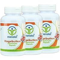 manako Hagebutten vegetarische Kapseln, 3 x 120 Stück a 500 mg, Dose a 72 g (3 x 120 Kapseln) preisvergleich bei billige-tabletten.eu